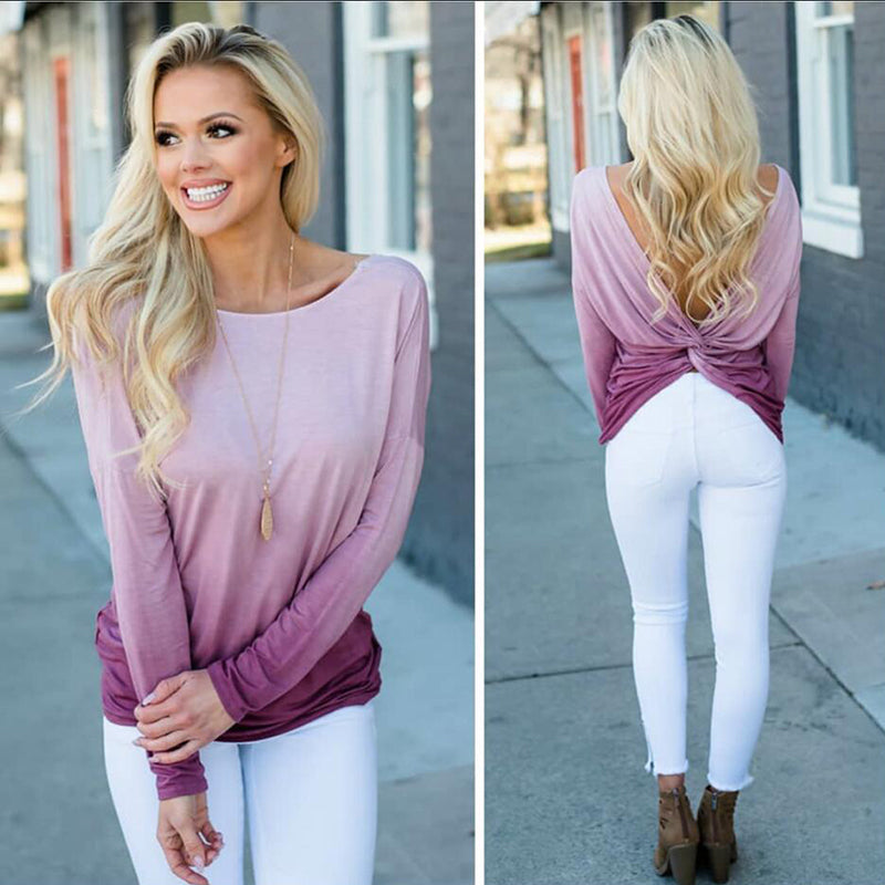 Womens Long Sleeve Backless Cotton Baggy Blouse Top Ladies Casual Loose Shirt | Edlpe