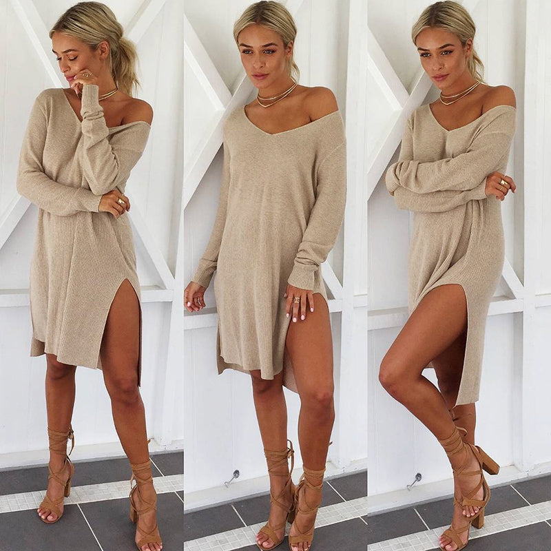 Womens Knitted Sweater Jumper Mini Dress Ladies Knitwear Winter Long Sleeve Tops | Edlpe