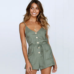 Women Summer V Neck Strappy Jumpsuit Playsuit Ladies Button Pocket Casual Romper