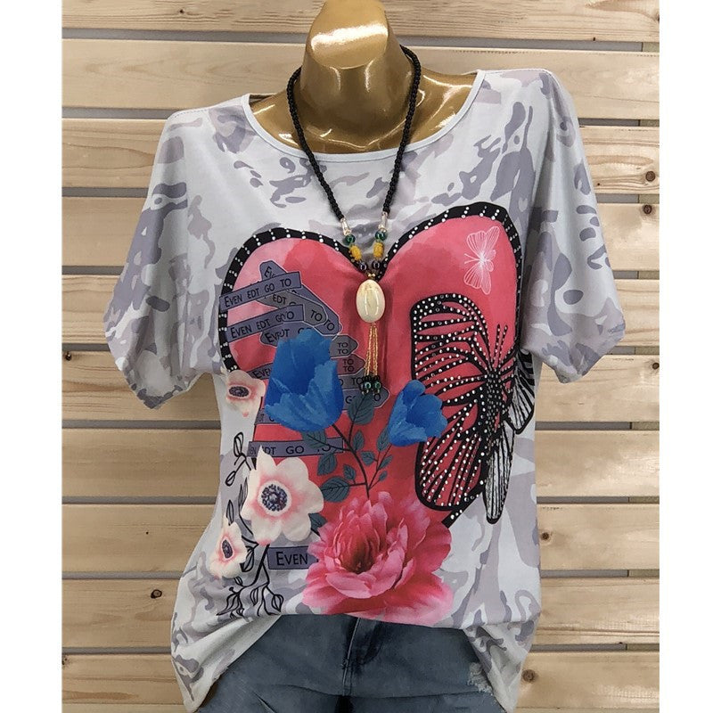 Women Butterfly Heart Tops Ladies Casual Short Sleeve Summer Beach T-Shirt Tee | Edlpe