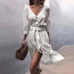 Women 3/4 Sleeve V Neck Bandage Shirt Dress Button Solid Casual Loose Mini Dress Long Shirts
