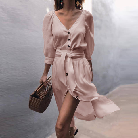 Women 3/4 Sleeve V Neck Bandage Shirt Dress Button Solid Casual Loose Mini Dress Long Shirts | Edlpe