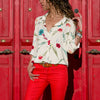 Image of Womens Long Sleeve Casual V Neck Tops Summer Beach Loose Floral Blouse T-Shirts | Edlpe