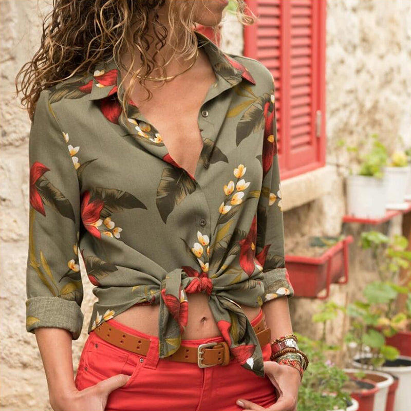 Womens Long Sleeve Casual V Neck Tops Summer Beach Loose Floral Blouse T-Shirts | Edlpe