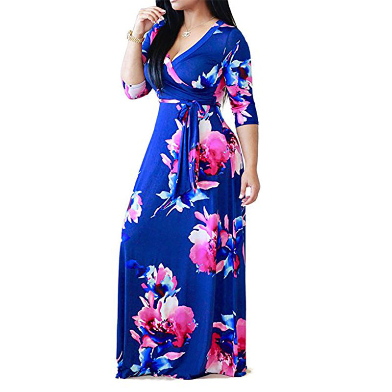 S-5Xl Women Floral Bandage Long Dress Evening Gown Party Beach Hippie Maxi Dress Plus Size | Edlpe