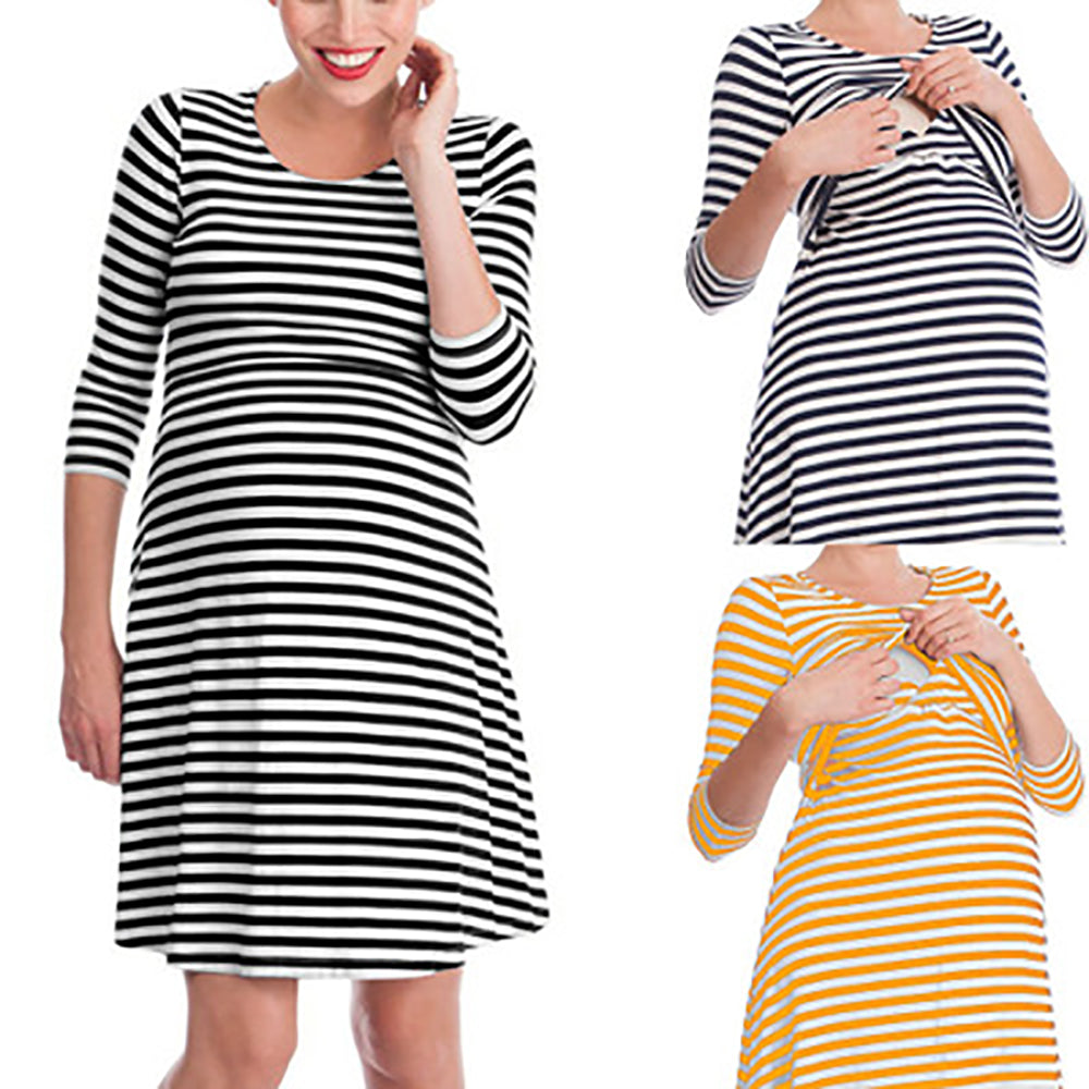 Mother Breastfeeding Stripe 3 Quarters Sleeves Knee-Length Dress | Edlpe