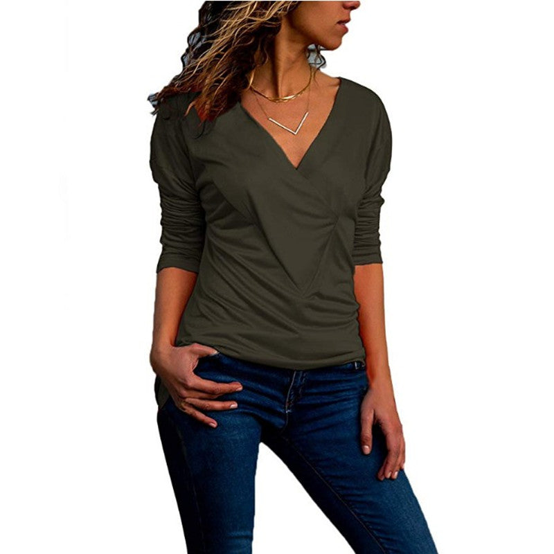 Women Long Sleeve V Neck Pleated Frill T Shirt Ladies Casual Slim Blouse Tops | Edlpe
