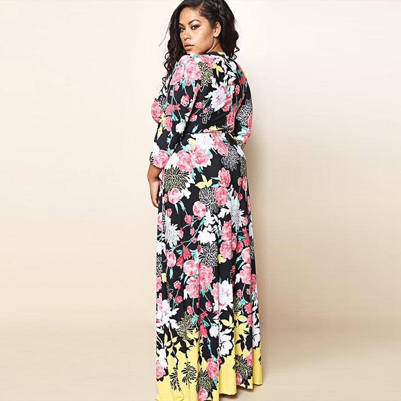 Plus Size Women Sexy Floral Maxi Dress V Neck Long Sleeve Evening Party Dress | Edlpe