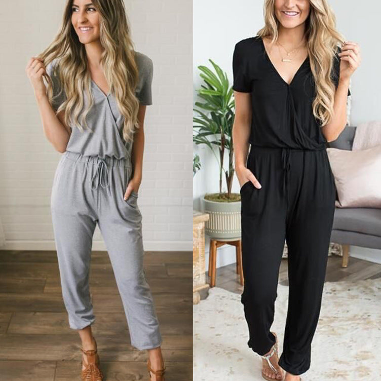 Women Short Sleeve V Neck Jumpsuit Romper Casual Long Pants Pocket Playsuit | Edlpe