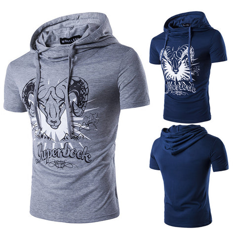 Mens Short Sleeve Hoodie Fashion Printed T-Shirt Personality Design Casual Slim Fit Tops | Edlpe