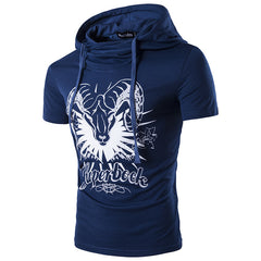 Mens Short Sleeve Hoodie Fashion Printed T-Shirt Personality Design Casual Slim Fit Tops