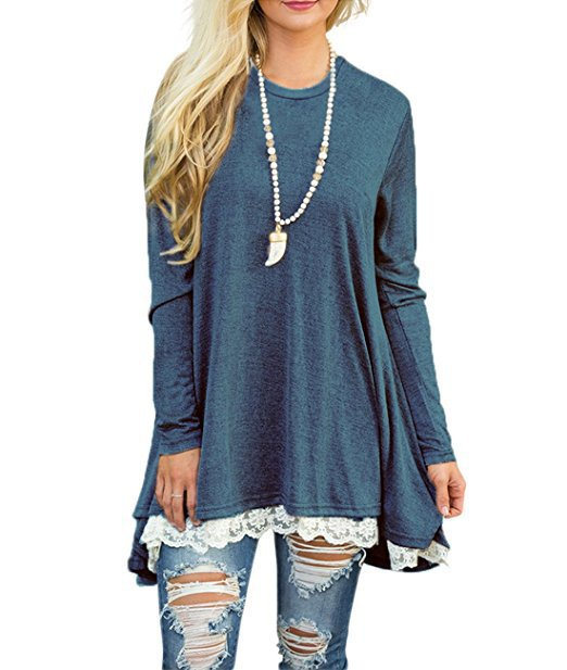 Autumn Women Lace Long Sleeve A-Line Swing Loose Tunic Top Blouse T-Shirt Dress | Edlpe