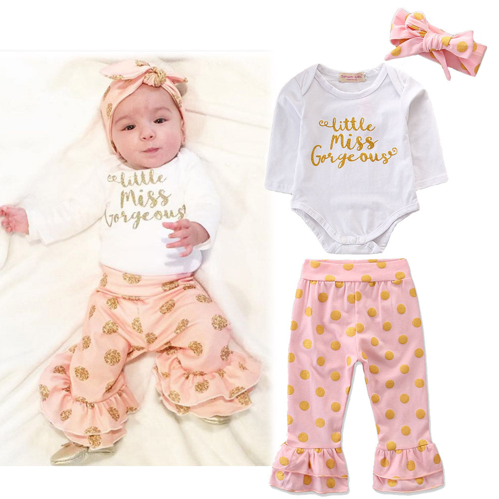 2Pcs Newborn Baby Girl Floral Clothes Romper Top Little Miss Letter Jumpsuit Pants Headband Outfits | Edlpe