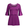 Image of Mother Breastfeeding Pure Color Round Collar Midi Sleeves Dress | Edlpe