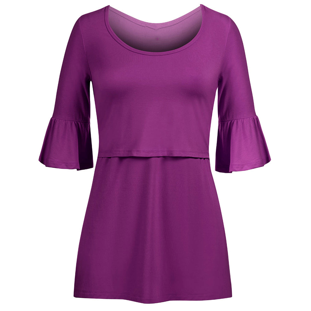 Mother Breastfeeding Pure Color Round Collar Midi Sleeves Dress | Edlpe
