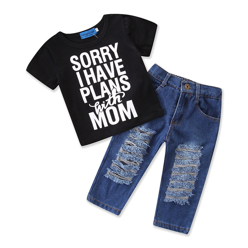 2Pcs Newborn Baby Boys Girls Kid T-Shirt Tops+Denim Pants Jeans Clothes Outfits | Edlpe