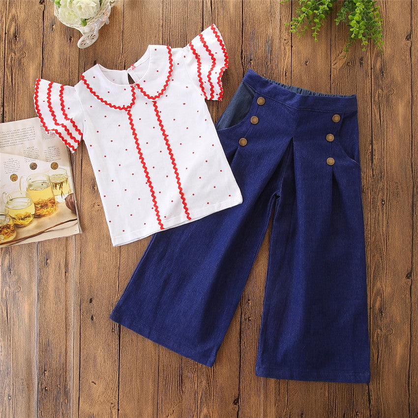 2Pcs Toddler Kids Baby Girls Dress Clothes Outfits Tops Shirt Wide Leg Pants Set Party Dresses | Edlpe