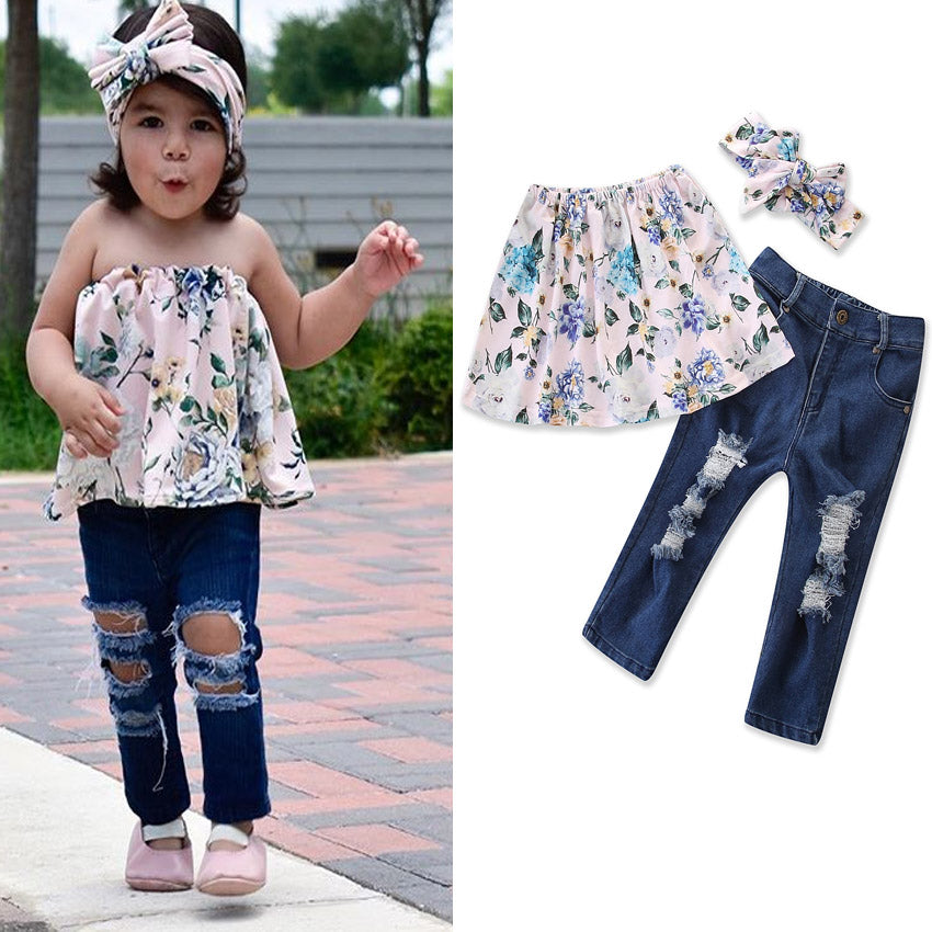 Children Toddle Kids Baby Girl Floral Off Shoulder Tops+Ripped Jeans Pants Headband Outfits Set | Edlpe