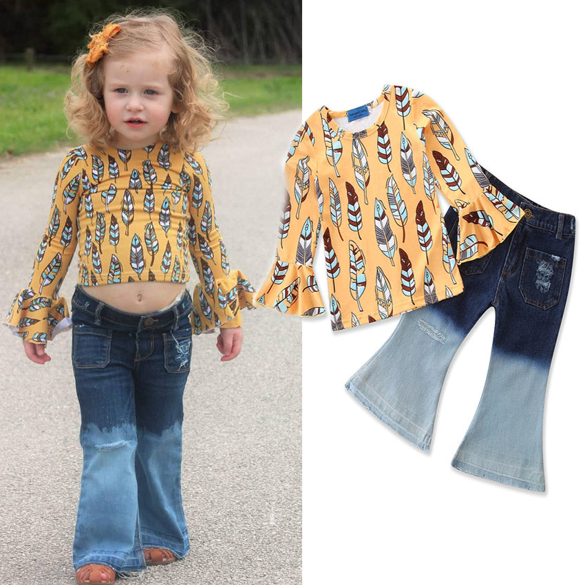 2Pcs Set 1-6Y Kids Girls Leaves Long Bell Sleeve Top + Flare Long Pants Outfits Sets Suits | Edlpe