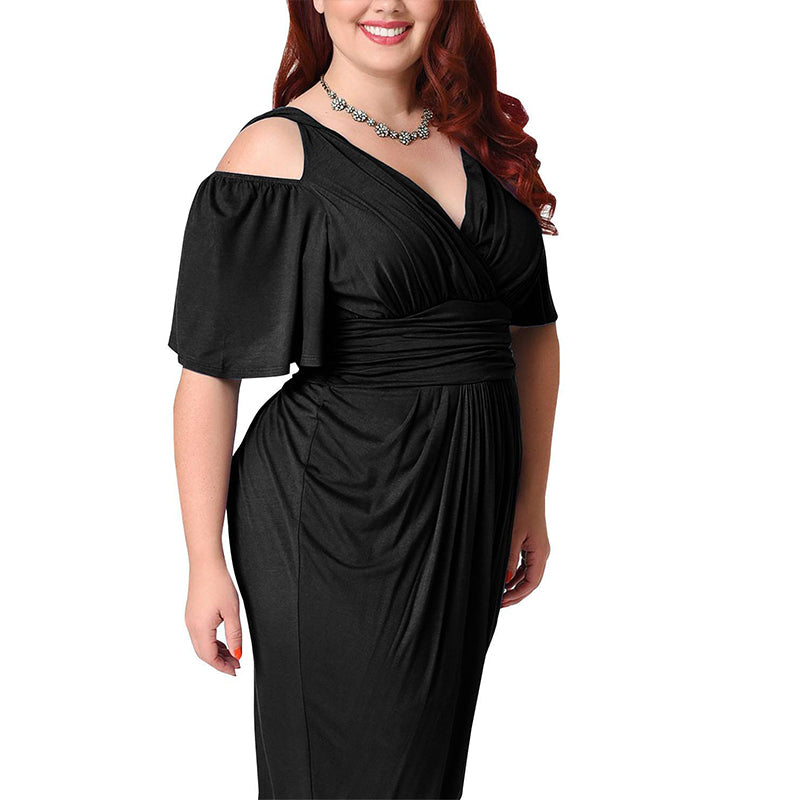 Plus Size Women Elegant Sexy V Neck Solid Cold Shoulder Midi Dress Cocktail Evening Prom Ball Gowns