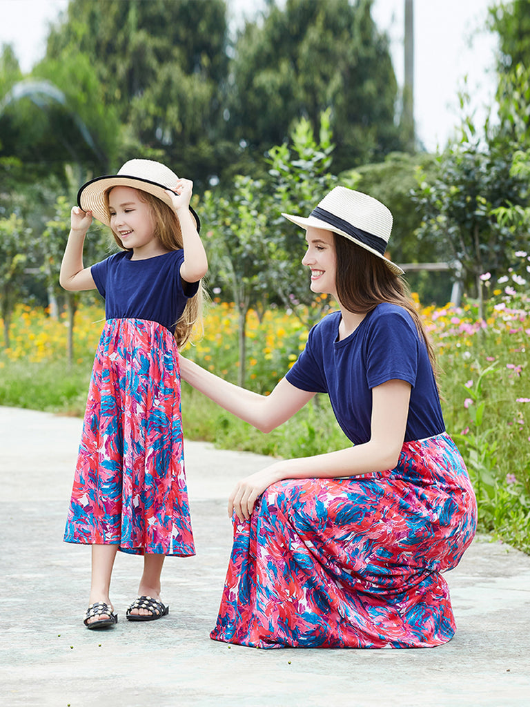 Summer Mother And Daughter Floral Printed Shirt Stitching Long Dress | Edlpe