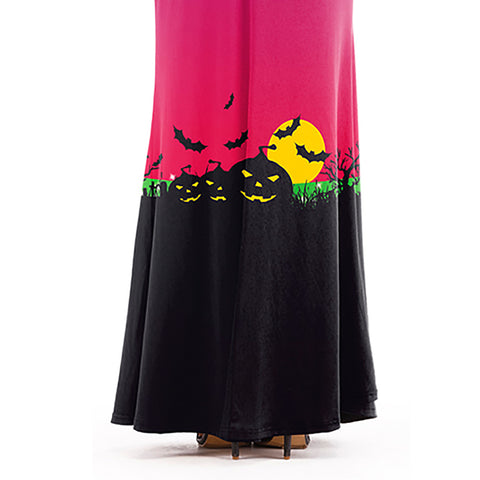 Women Halloween Party Long Sleeve Long Maxi Dress Pumkin Scary Blood Print Dress | Edlpe