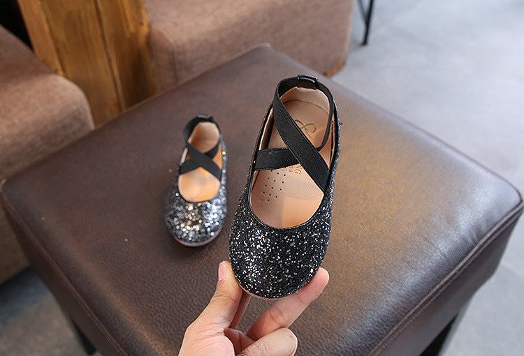 Kids Child Girls Sequin Shoes Glitter Bridemaid Sandals Party Casual Dance Pumps | Edlpe