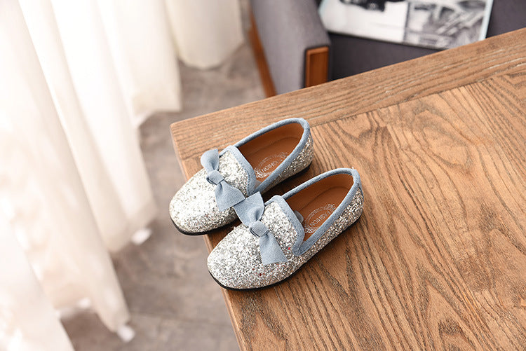 Kids Girls Infants Pumps Flat Glitter Loafers Party Slip On Shoes Size | Edlpe