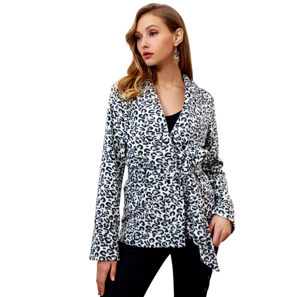 Womens Leopard Suit Coat Long Sleeve Jacket Sweatshirts Autumn Winter Outwear | Edlpe