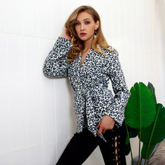 Womens Leopard Suit Coat Long Sleeve Jacket Sweatshirts Autumn Winter Outwear