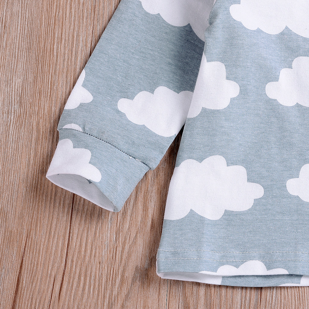 Baby Girl Boy Kids Cloud Print Long Sleeve Trouser Outfit Clothes Suits Sets | Edlpe