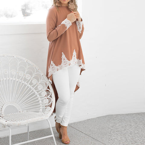 Womens Long Sleeve Lace Ruffles Asymmetrical Casual Tops Shirt Blouse Mini Dress