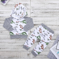 Newborn Baby Boy Girl Clothes Dinosaur Hooded Tops Shirt Long Pants Outfits Set | Edlpe