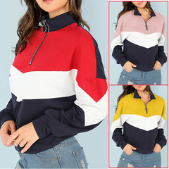 Womens Winter Lapel Zipper Tops Blouse Ladies Casual Pullover Outwear | Edlpe