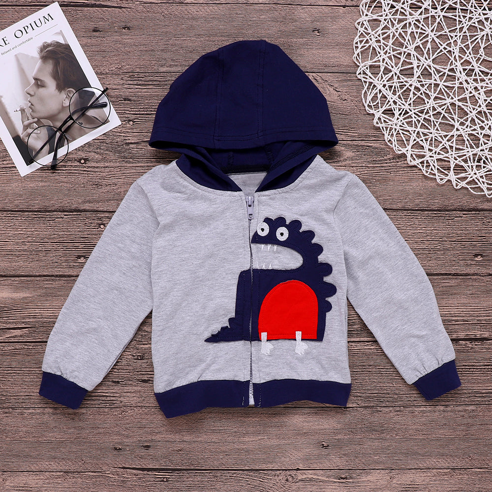 Baby Boy Children Long Sleeve Dinosaur Style Hooded Hoodies Jumper 1-7 Years | Edlpe