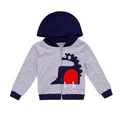 Baby Boy Children Long Sleeve Dinosaur Style Hooded Hoodies Jumper 1-7 Years
