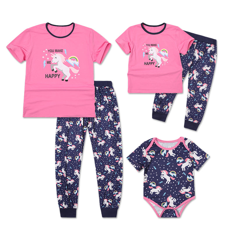 Kids Baby Girs Unicorn Short Sleeve Clothes Outfits Rompers Tops Pants Set | Edlpe