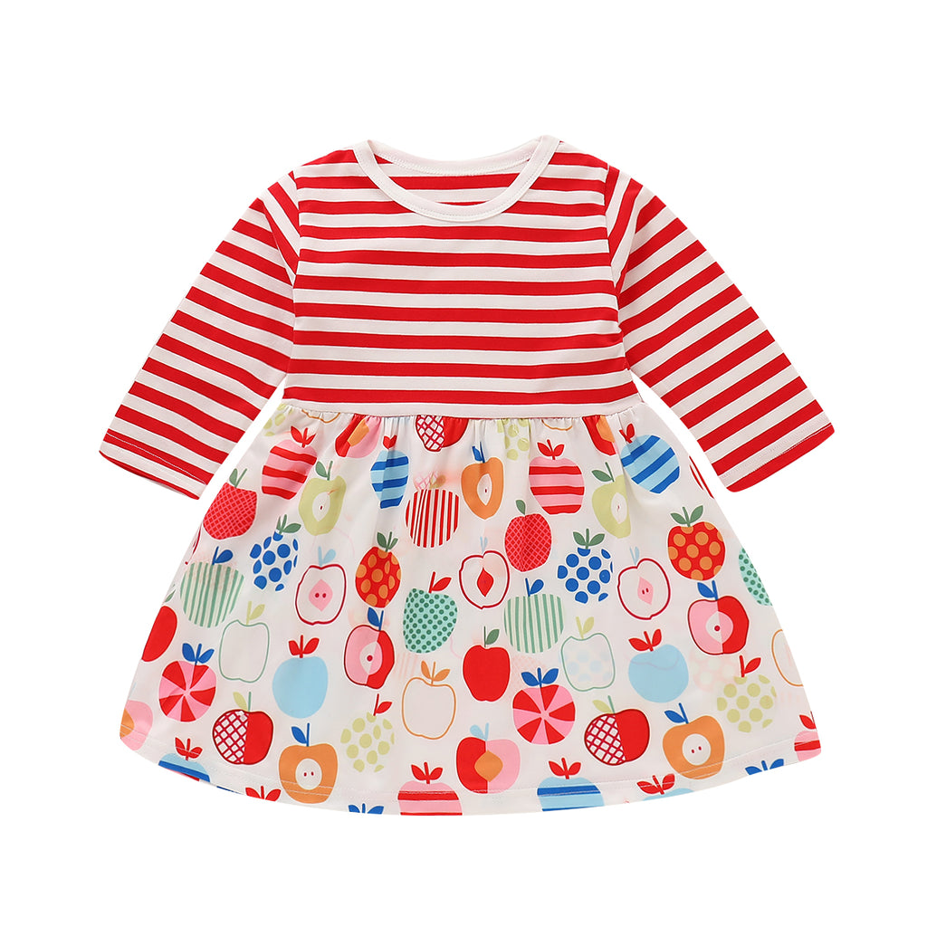 Kids Striped Apple Print Long Sleeve Dress Baby Girls Outfits Casual Clothes | Edlpe