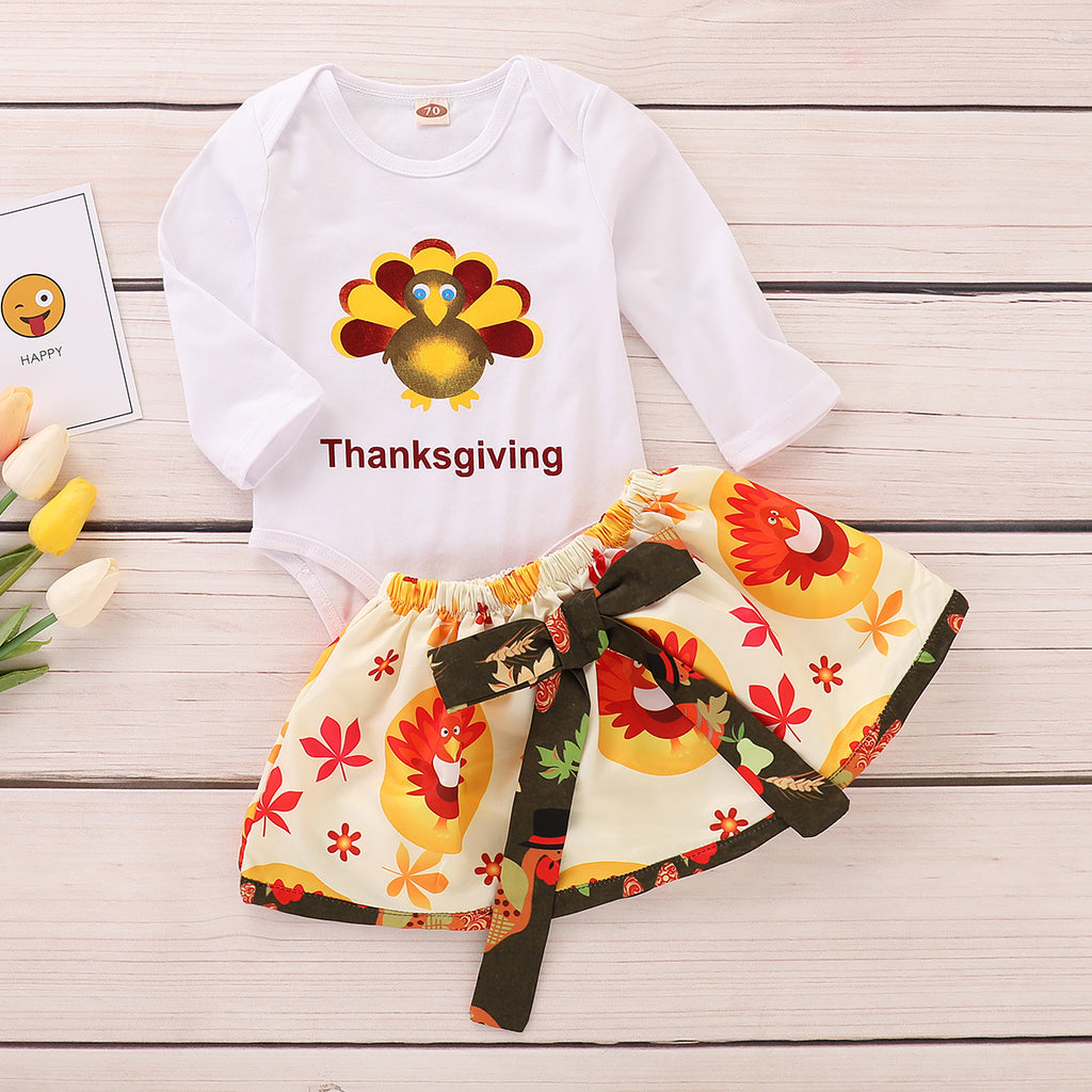 Kids Girls Turkey Thanks Giving Long Sleeve Romper Skirt Infant Baby Outfits | Edlpe