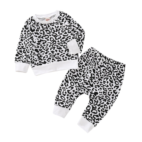 Baby Boys Girls Leopard Outfits Set Newborn Infant Clothes Romper Tops Pants | Edlpe