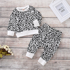 Baby Boys Girls Leopard Outfits Set Newborn Infant Clothes Romper Tops Pants