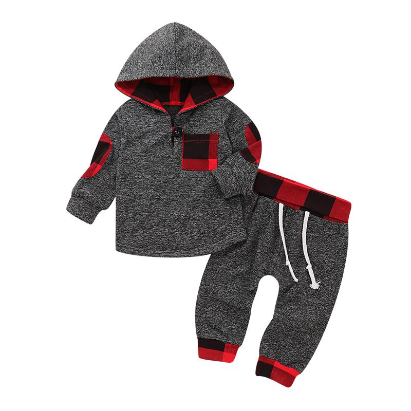 Newborn Baby Boys Hooded Tops T Shirt Long Pants Outfits Clothes Set Tracksuit | Edlpe