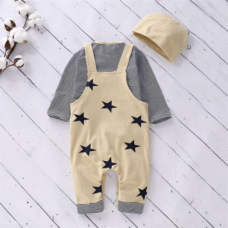 Baby Girls Boys Outfits Set Toddler Kids Bib Pants Clothes Tops Shirt Hat | Edlpe