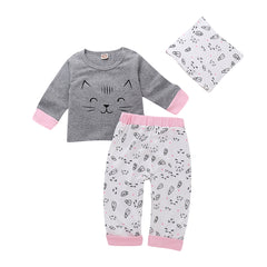 Newborn Girls Cat Kitten Long Sleeve Shirt Trousers Baby Casual Outfits Set | Edlpe