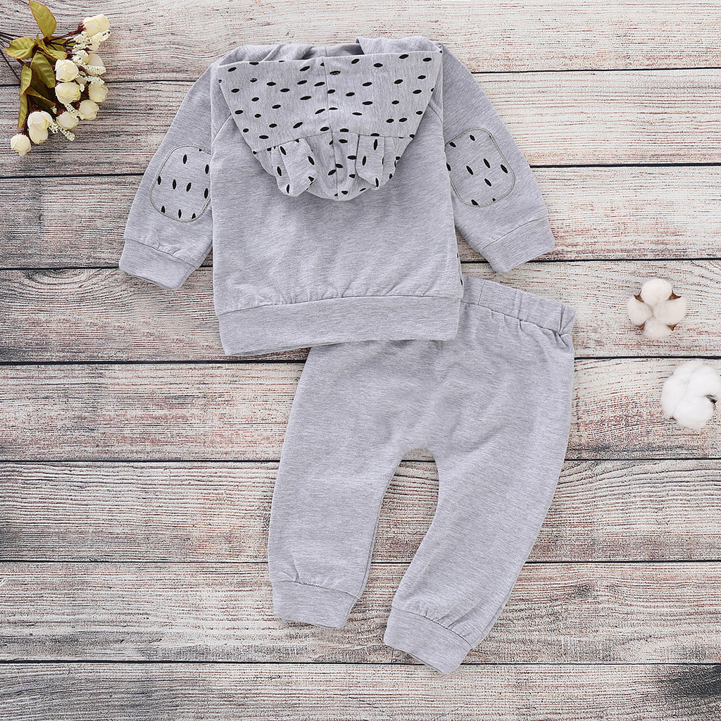 2Pcs Infant Baby Boys Girls Hooded Tops Long Pants Toddler Outfits Clothes Set | Edlpe