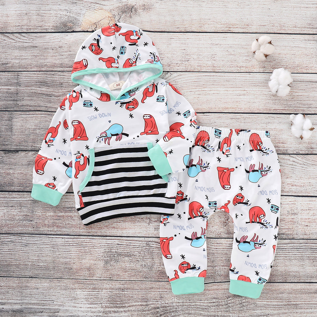 Infant Kids Baby Boys Girls Toddler Sloth Printing Hooded Outfits Clothes | Edlpe