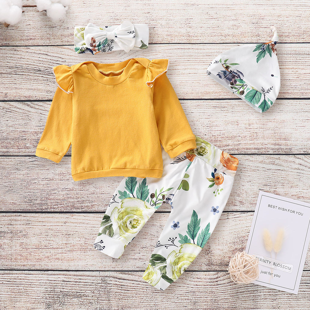 4Pcs Newborn Baby Girls Tops T Shirt Long Pants Headband Hat Outfits Clothes | Edlpe