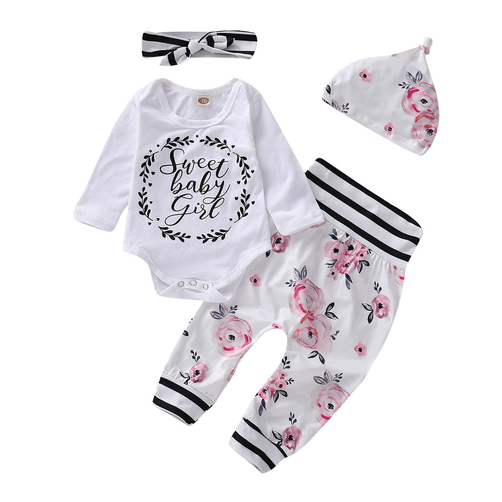 Infant Newborn Toddler Kids Baby Floral Sweet Girls 4 Pcs Outfits Clothes | Edlpe