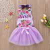Image of Infant Toddler Kids Baby Girls Floral Flower One Printing Lace Dress Skirt | Edlpe