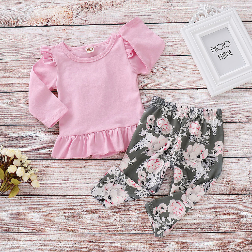 Infant Toddler Kids Baby Girls Lace Pink Tops + Floral Printing Pants Clothes | Edlpe